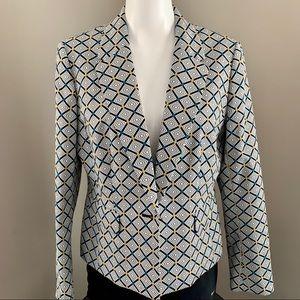 NINE WEST, Diamond Print Single Breast Blazer